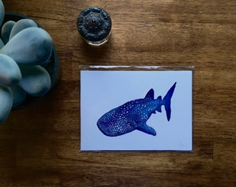 "Whale Shark Watercolor Print 5"" x 7"""
