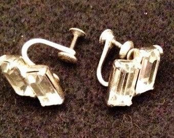 Vintage Sterling Silver Rhinestone screw on clip earrings