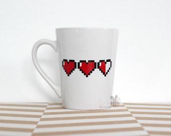 ZELDA HEARTS 14 oz White Mug