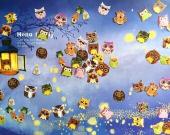 64 cute owl sticker cartoon owl colorful owl flake sticker owl party baby owl forest cutest owl sticker diary planner sticker decor gift