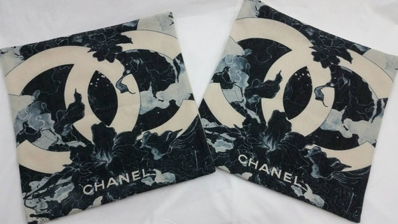 Chanel Leather Throw Pillow : 2 CHANEL CC inspired Beautiful Pillowcases Throw Pillows