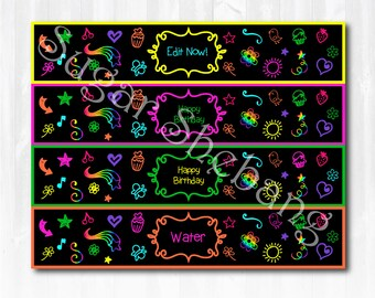 Glow Party Water Bottle Labels - Instantly Downloadable and Editable File - Personalize at home with Adobe Reader! Glow Party Supplies
