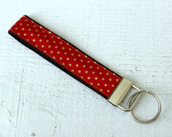 Key Fob Wristlet in Red and Metallic Gold Dot Fabric