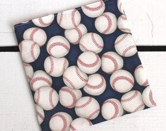 Reusable Snack and Sandwich Bag with Robert Kaufman Baseball Fabric