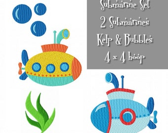 SUBMARINE Multipack ~ 2 Submarines, Kelp and Bubbles Machine Embroidery Designs - Instant Download ~ 4 x 4 hoop