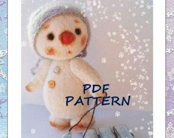 OOAK SnowmanTeddy pattern, teddy pattern, , soft toy pattern,  5 inches