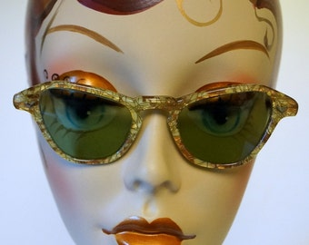 1950s Cat Eye Sunglasses Gold Metal Flake Retro Vintage Pinup