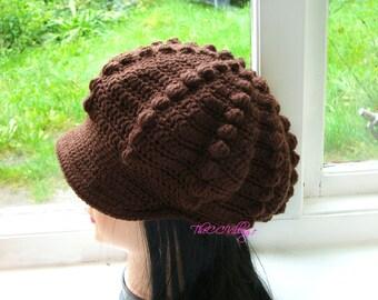 Brown Crochet Womens Hats, crochet Teen Hat, crochet woman Cap, Beanie