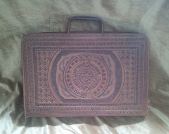 Vintage Mexican Tooled Leather Briefcase Ships Free!