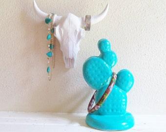 Cow skull ring holder, cactus bracelt stand, jewlery rack, southwestern decor, rustic decor, modern rustic