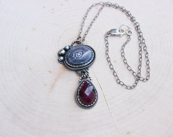 Fordite and Ruby Zoisite Pendant Necklace Silver JMK
