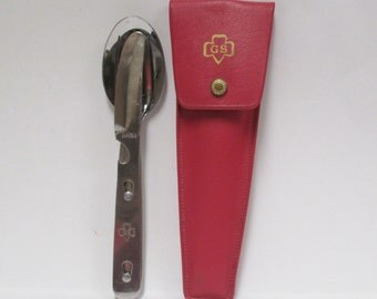Vintage Girl Scout Camping Flatware Set, Imperial Stainless Silverware in Red Vinyl Case, Stacking Utensil Mess Kit