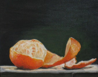"FREE SHIPPING Kitchen Still Life Original Food Painting Tangerine 7,87""x7,87"" Acrylics on canvas"