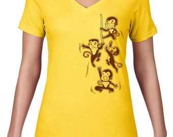 Womens V Neck, Cheeky Monkey T Shirt, Playful Monkey TShirt, Monkey Tee, Funny TShirt, VNeck, Ringspun Cotton, Semi Sheer