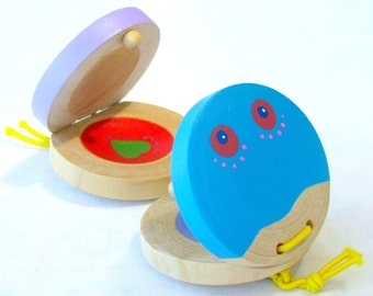 Music toy , A pair of castanets , wooden game , eco friendly toy , musical instrument , Toddler toy , Special Price