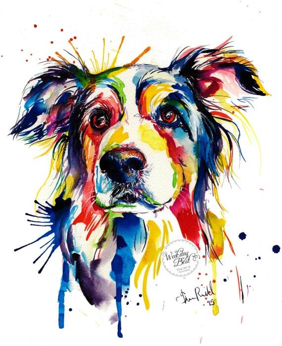 Colorful Art: Colorful Border Collie Art Print Print Of Original
