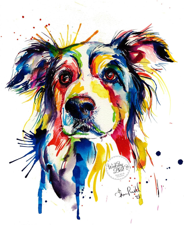 Scrapbook paper dogs - Colorful Border Collie Art Print Print Of Original Watercolor Painting