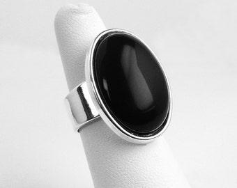 Black Onyx Ring, Black Onyx Silver Adjustable Ring, Black Onyx Silver Ring, Silver Black Onyx Ring