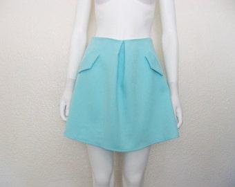 VINTAGE Seafoam blue 60s 70s skirt