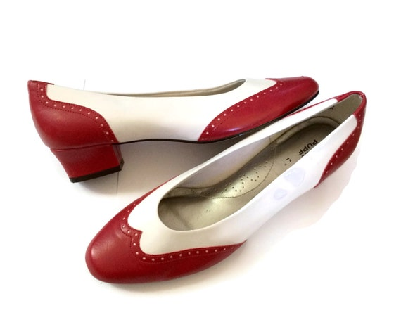 Women's Spectator Shoes Flats Size 8 Red White Hush