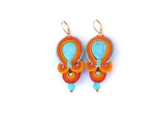 Turquoise Earrings, Dangle Earrings, Drop Earrings, Soutache Earrings, Orange Earrings, Handmade Earrings, Fashion Earrings