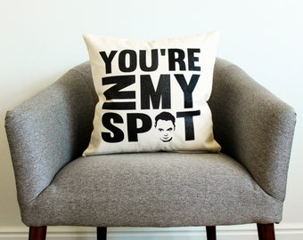 "The Big Bang Theory Sheldon Cooper ""You're In My Spot"" Pillow - TV Show, Gift for Him, Grad Gift, Dad Gift, Pillow Cover, Home Decor"
