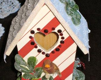Christmas Chalet Wood Mini Bird House   Altered