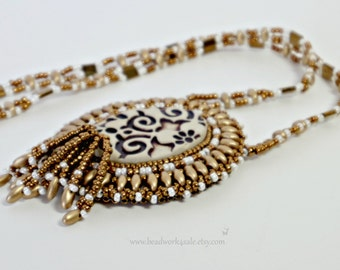 Limited Edition, Handmade, Ceramic Beaded Pendant, Bronze Metallic and Gold, Bead Embroidery, Bead Art Necklace