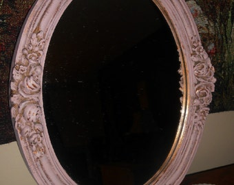 Upcycled Vintage, Mauve Wall Mirror, Distressed, Gold, Pink, Baroque, Ornate Design, Hand Painted, Oval Mirrors