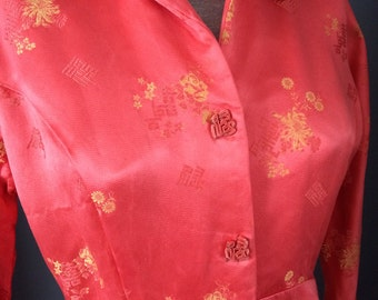 Vintage Chinese Silk Dress Made in Hong Kong, Size 12- Retro Fashion, High Fashion Tailored Dress, Imported,Rockabilly, One of a Kind Dress