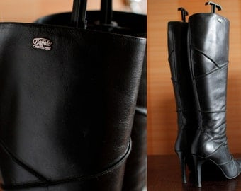 BUFFALO leather knee high black boots. CULT Model 90s vintage boots patchwork