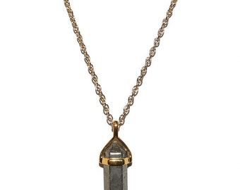 Pyrite Natural Crystal Stone Gold Necklace