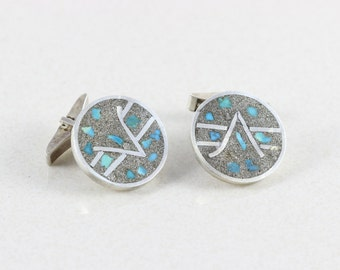 Mens Sterling Silver Turquoise Inlay Cufflinks