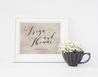 Rustic Welcome Wedding Sign - Custom Calligraphy Ceremony Sign - Personalized Printable or Poster - Large Wedding Sign - Freya