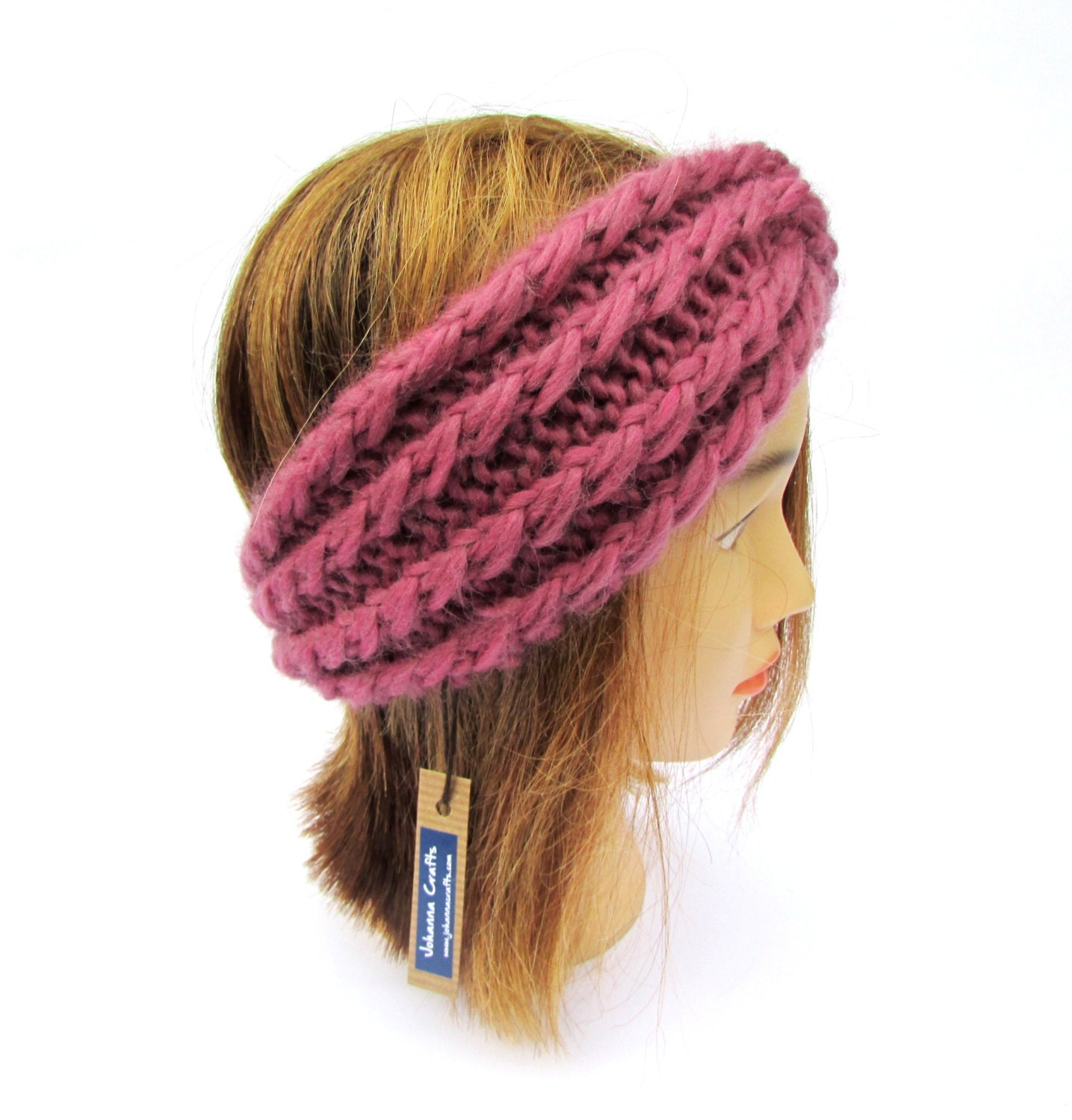 Twisted Headband Knit Pattern : Twisted headband old pink knit headband knitted antique