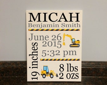 construction nursery construction birth stats birth statistics construction vehicles birth announcement stats baby shower gift