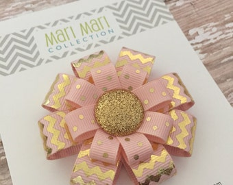 Light Pink and Gold  Chevron Hairbow - Holiday Chevron Hair Clip - Chevron Hair Accessory - Girls Christmas Hair Accessory- Elegant Gold Bow