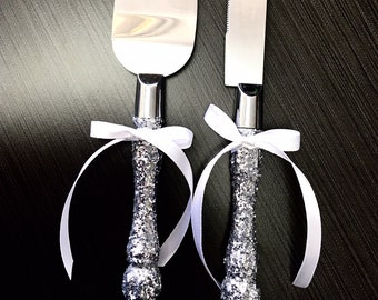 Cake Cutter set - Silver Glitter,  FREE shipping, cake server set, cake knife, wedding cake server
