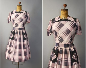 1940's Plaid Dress • Cotton Short Sleeve Dress • 40's Dress