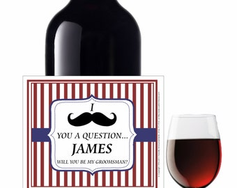 Will You Be My Groomsman Label, Mustache Theme, Bridesmaid, Waterproof, Beer Label, Ask a Bridesmaid, Wine Label for Bridesmaid ( LMustache)
