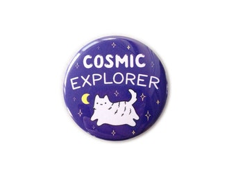 "Cosmic Explorer 1.5"" Cat Pinback Button - Cute Illustration Pin/Badge - by Sparkle Collective"