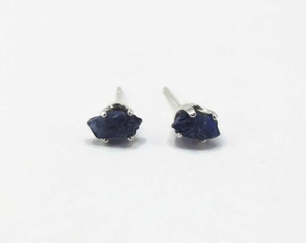 Sapphire Earrings - Blue Sapphire - Raw Sapphire Earring - Rough Sapphire Stud - September Birthstone - Natural Rough Stone Earrings