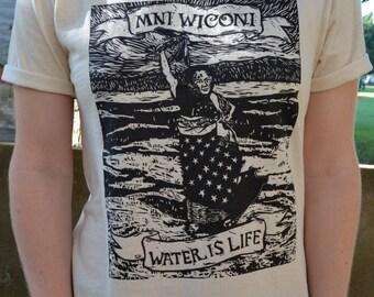 Mni Wiconi Linocut T-Shirt