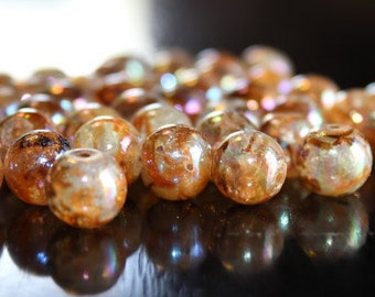 40 AB color plated glass beads, 10 mm, hole 1.5 mm, round and smooth, spray painted style, light brown