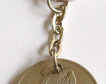 1975 Old Large 10p Ten Pence Deich bPingin Irish Coin Keyring Key Chain Fob 42nd Birthday
