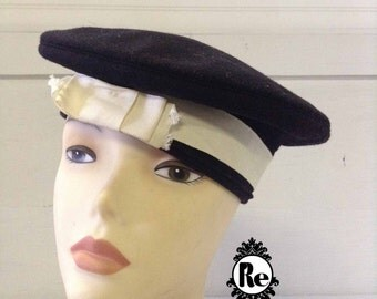 Vintage Women's Hats 1960's  Navy Blue Sailor Hat Cap Tam with White Grosgrain Ribbon Band No. 69