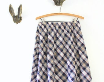 Vintage Skirt, Vintage Plaid Skirt, Plaid Skirt, Blue Plaid Skirt, Navy Plaid Skirt, Midi Skirt, Plaid Midi Skirt, Blue Plaid Midi Skirt