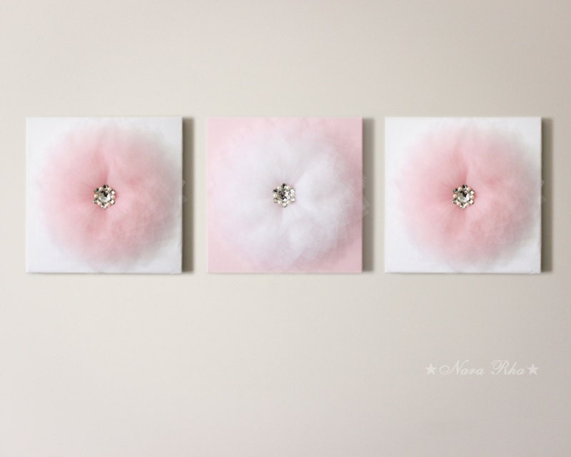 Baby girl nursery decor baby pink flower girl nursery art for Baby girl wall decoration