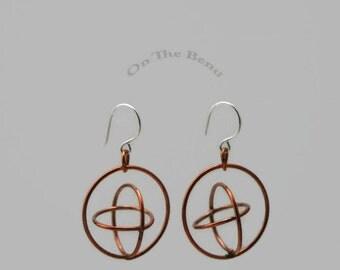 Copper Orbital Earrings - 3D Global Earrings - Large Triple Hoop Dangles with Space Age Appeal