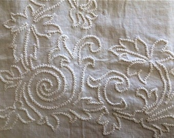 Early White-worked Homespun Linen Bedcover